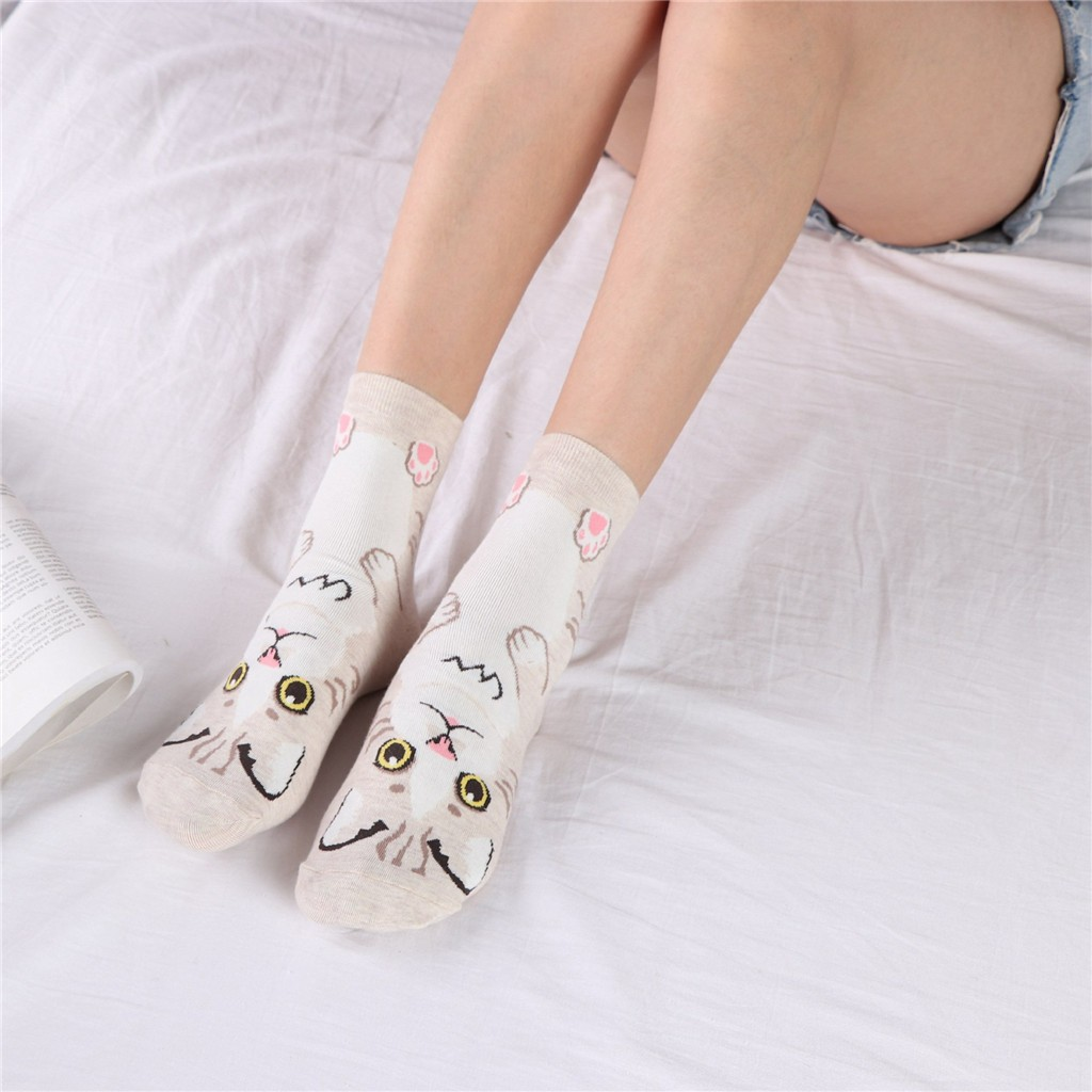 JAYCOSIN cute animal cat printed women cotton socks lovely Jacquard female pure color socks funny kawaii cat meias soks 9031327