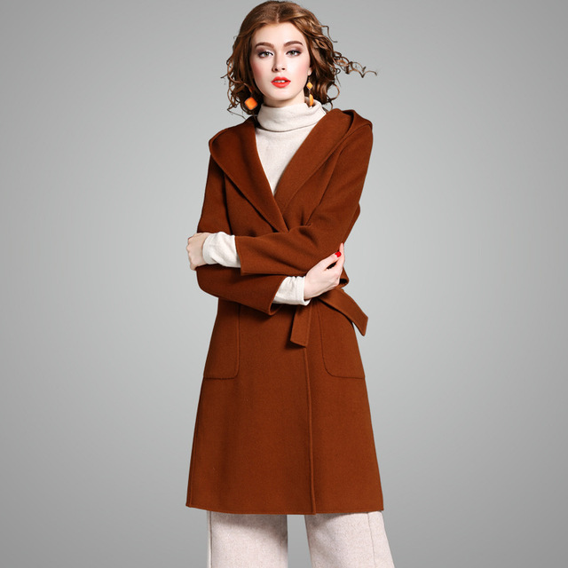5ac6e25c09a7f 100% wool coat women winter coat caramel colour coffee  black double sided  wool long trench coat with sashes belt 2018