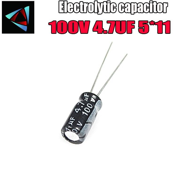 30PCS Higt Quality 100V 4.7UF 5*11mm 4.7UF 100V 5*11 Electrolytic Capacitor