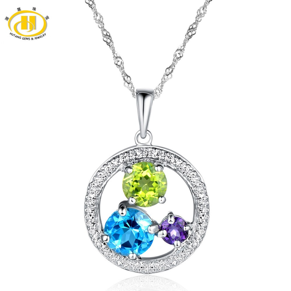 Hutang Natural Blue Topaz, Amethyst, Peridot Pendant Gemstone Solid 925 Sterling Silver Necklace 3-Stone Style Fine Jewelry