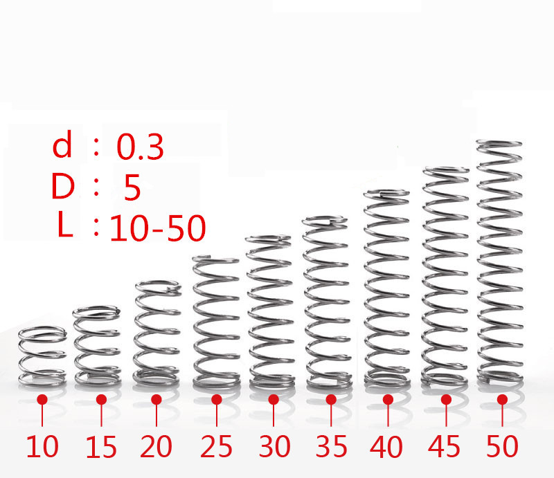 304 stainless steel spring small spring compression spring wire diameter 0.3 * 5* 5/10/15/20/25/30/35/40/45/50mm304 stainless steel spring small spring compression spring wire diameter 0.3 * 5* 5/10/15/20/25/30/35/40/45/50mm