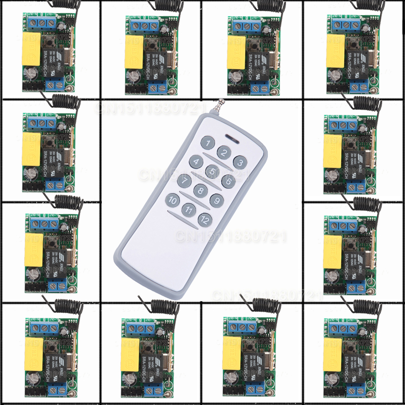 220V 12CH Wireless Remote Control Switch System Light/Lamp LED SMD Access System ON OF ac220v 12ch wireless remote control switch system light lamp led smd access remote control system on of toggle momentary latched