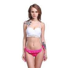 2017 Summer Push Up Brazilian Bikini Sets Sexy Halter Retro Crochet Bikini Floral Swimsuit Swimwear Biquine