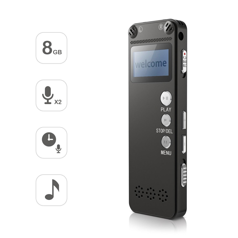 Enregistreur vocal 8 GB Numérique Audio Sound Recorder Dictaphone Numérique à Commande Vocale Enregistreur avec Lecteur MP3 Double Microphone