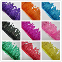 5 yards 35 40cm Natural Rooster Tail Feather Fringe Trim Ribbon Wedding Skirt Dress Decoration DIY Clothes Accessories