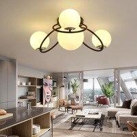 Светодиодный спальня потолочные светильники гостиная потолок ресторан светильники освещения loft современный Стекло лампы мяч потолка
