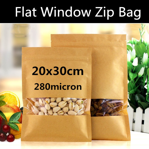 50pcs 20cm 30cm Large Kraft Paper Window Zip Lock Bag Dry
