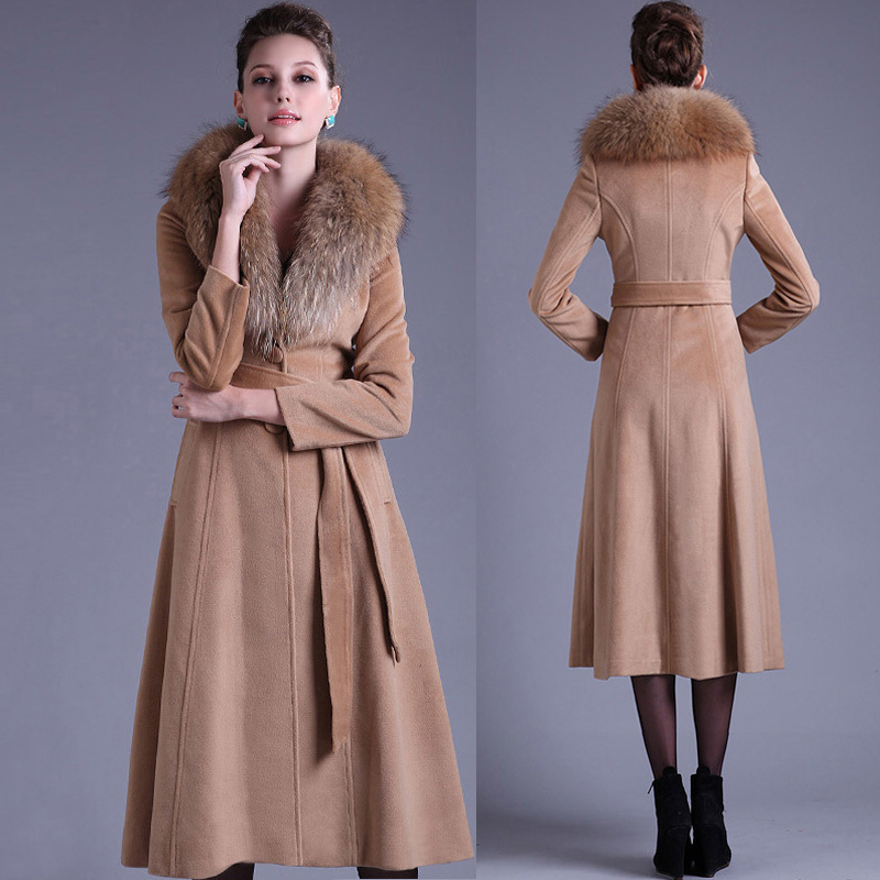 Aliexpress.com : Buy Winter Womens Large Fur Collar Cashmere ...