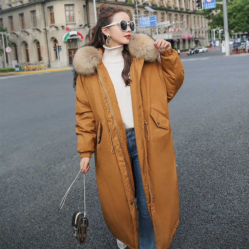 2017 New Women Winter Long Jacket Big Fur Collar Hooded Woman Parka Womens Cotton Padded Coats Casual Thick Jacket qazxsw 2017 new winter cotton coats women long parkas hooded jacket slim thick padded big fur collar casual winter jacket hb355