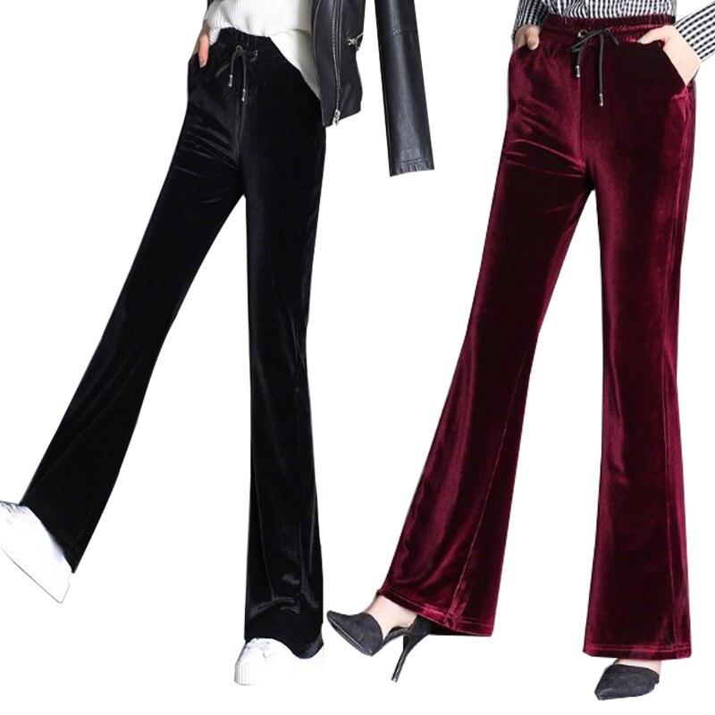Womens Fashion   Wide     Leg     Pants   Black Red Autumn Spring Female Straight Flared   Pants   Elastic Waist Velour Trouser Plus Size 9XL