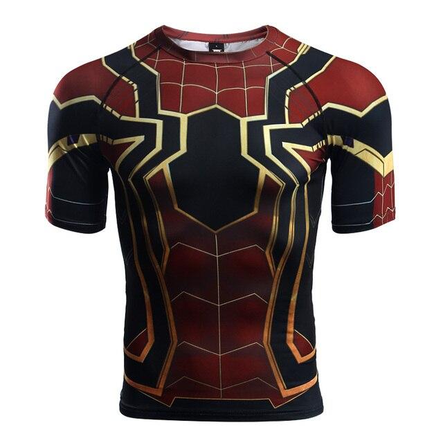06e4ba7ab84b3 Manga raglán Spiderman 3D Camisetas estampadas hombres compresión camisas  2018 verano nuevo Cosplay traje Tops para