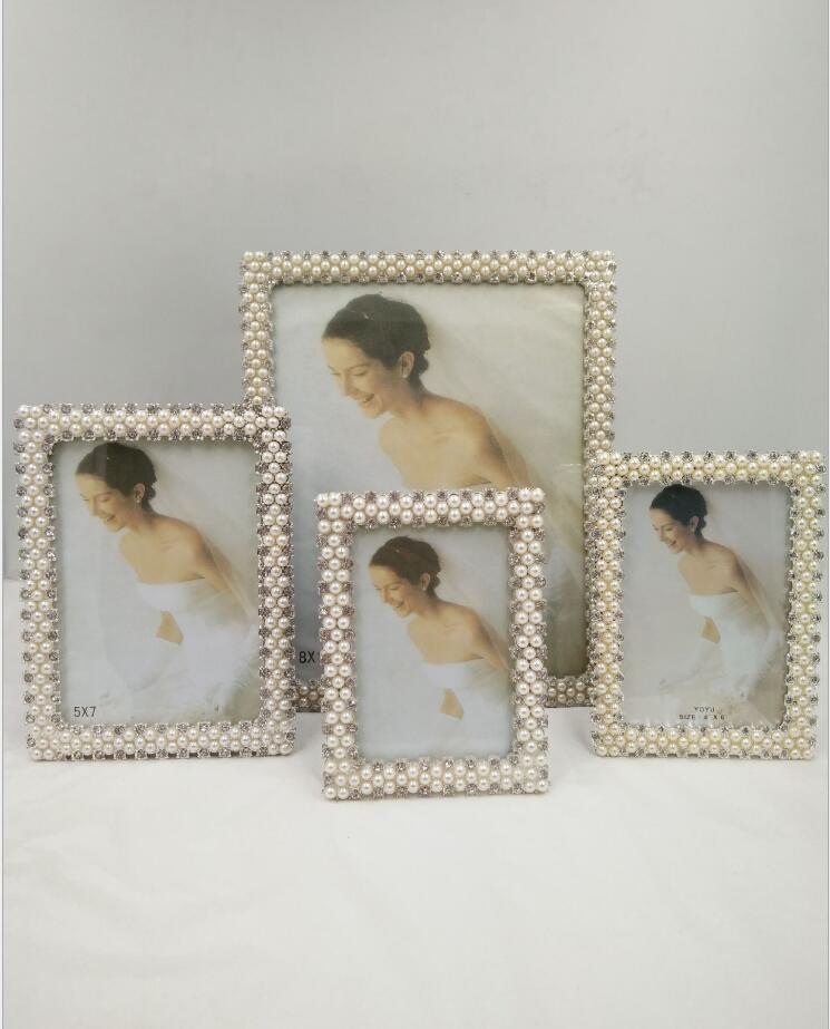 European modern crystal photo frames for picture Metal wedding photo ...