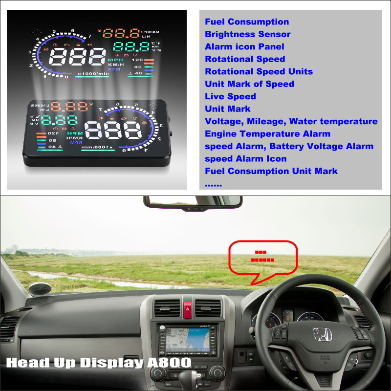 Car HUD Head Up Display For Honda For CRV CR V 2007 2010 Refkecting Windshield Screen