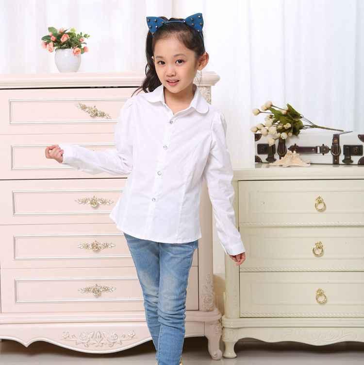 c6599abafba Рубашки для мальчиков для маленьких девочек бренд Белая блузка для девочек  хлопок школьница нарядная блузка для