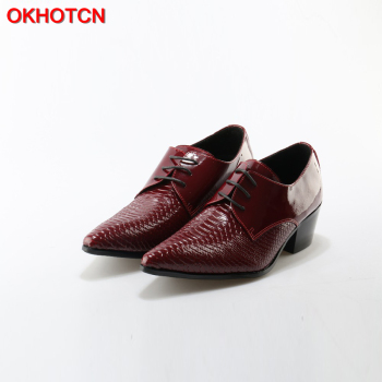 OKHOTCN Lace Up Men Genuine Leather Shoes Red Men Wedding Shoes Square Heel Retro Brogue Formal Dress Party Office Oxford Shoes