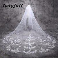 Bridal Veils 5 m Cathedral Veil Long Bride Lace Wedding Bridal Veil 5 Meters 2017 Bridal Veils With Appliques Edge