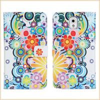 New Flower Printed Leather Case for Samsung Galaxy Note 3+free shipping