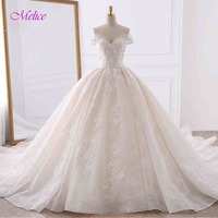 Vestiod De Noiva Appliques Lace Flowers Princess Wedding Dresses 2018 Sweetheart Neck Pearls Royal Train Ball