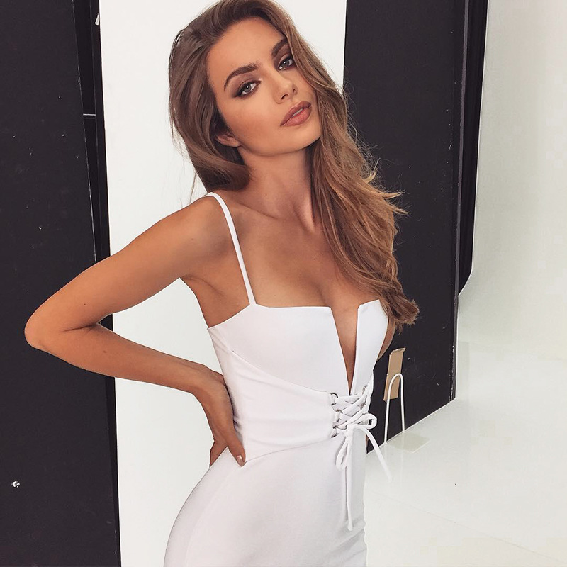 Bodycon Women Sexy Deep V Neck Corset Bustier Dress Bandage Maxi