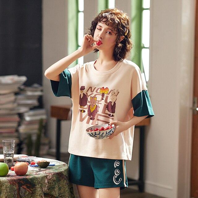 c52e20f47b 2019 summer new short sleeved pajamas set women s house clothes woman loose sleepwear  ladies  Pure