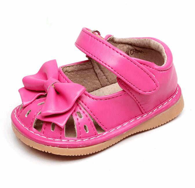 123507efb Горячая Распродажа от 1 до 3 лет дети девочки скрипучие туфли ручной работы  бант лента полусандалии