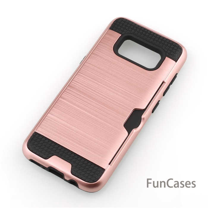 Für Samsung Galaxy S8/S8 plus fall Hybrid Rüstung Silikon TPU PC Gebürstet Hard Case Card Slot Halter Telefon fällen Für Galaxy S8