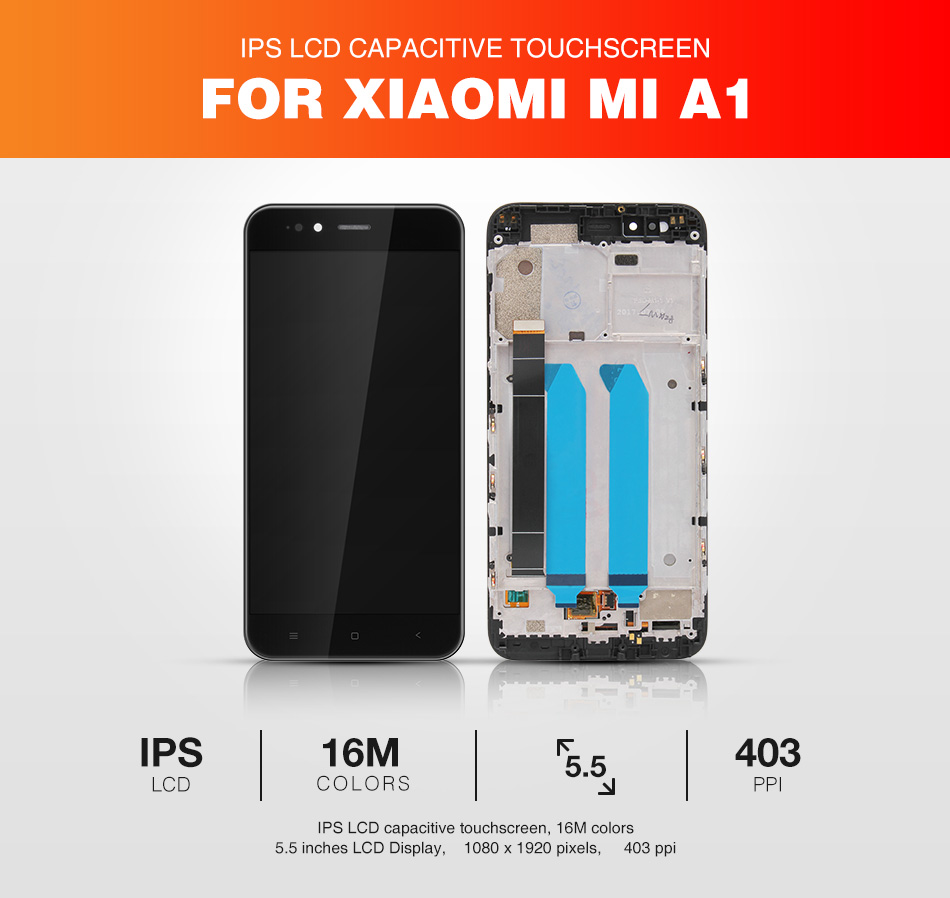 HTB1J21ZbGmWBuNkHFJHq6yatVXaa For Xiaomi Mi A1 LCD Display + Frame Screen 10 Touch Panel MiA1 Mi5X LCD Display Digitizer Touch Screen Repair Spare Parts