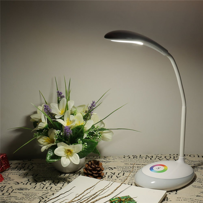 buy LED Eye-Care Desk Lamp With RGB Color Charging Base, USB Charging Port,Touch-Control, Adjustable 360 Degree Rotatable, White pic,image LED lamps deals