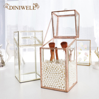 DINIWELL Mirrored Makeup Brush Holder Clear Cosmetic Storage Box with Lid Eyeliner Lipstick Pencils Display Vanity Dresser Decor