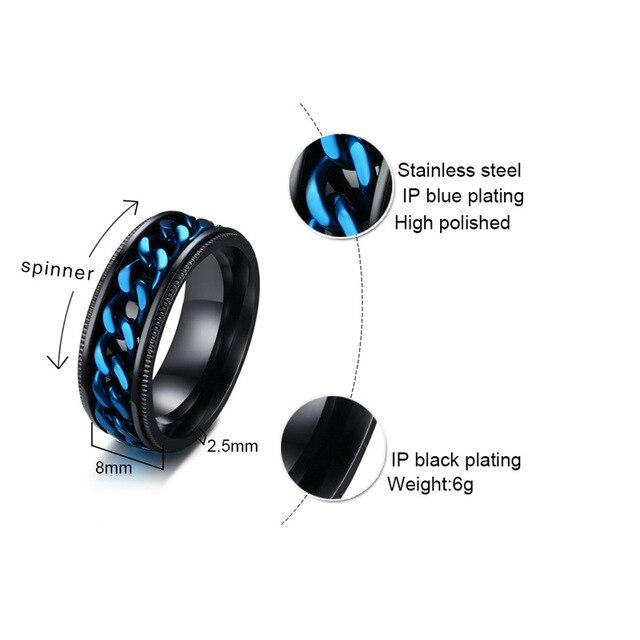 2020 Модные Винтажные кольца Спиннеры мужские классические черные