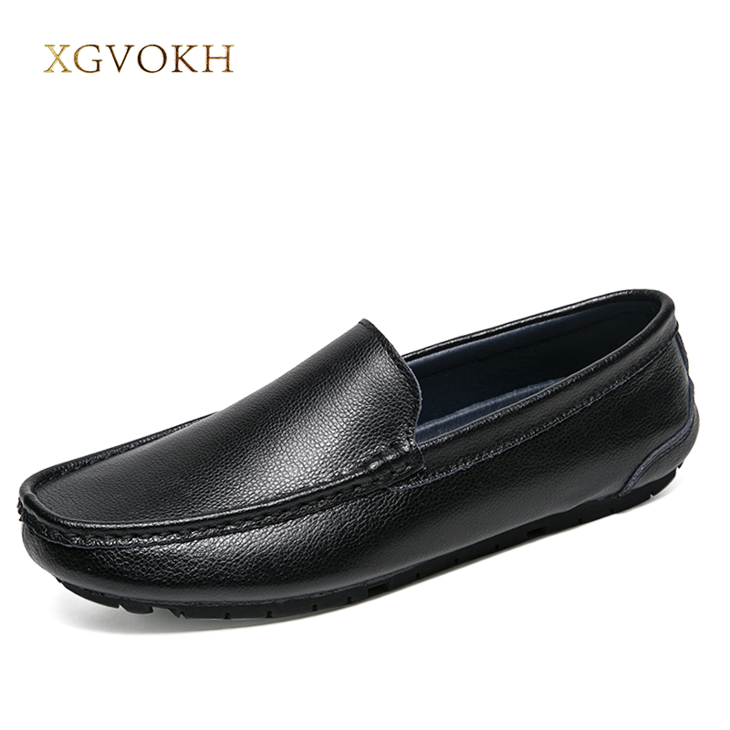 Men shoes Leather Moccasin Solid Loafers Driving Casual Slip On Shoes XGVOKH Brand Spring /Autumn Fashion Men's boat clax men shoes luxury brand loafers genuine leather male driving shoes slip on black dress shoe moccasin designer classical