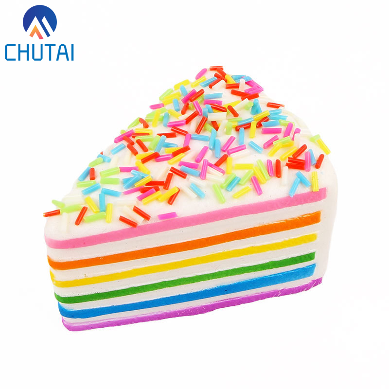 Kawaii Soft Squishy Colorful Rainbow Cake Bread Phone Straps Slow Rising Bun Charms Gifts Toys Stress Reliever Fun 9*6*5.5CM