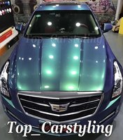 Gloss Peacock Green Color flow Vinyl Car wrap styling shift covering Foil Film With Air bubble Free PROTWRAPS 1.52x20m 5x67ft