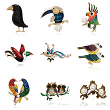 Parrot Owl Crow Brooch Black Paint Bird Enamel Brooches Men Women Suits Dress Hat Collar Brooch Pins Animal Scarf Buckle Gift(China)