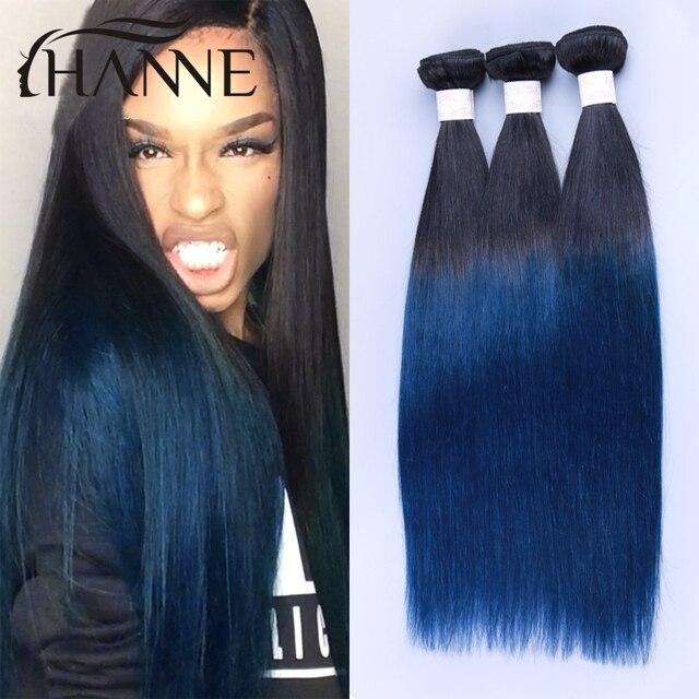 2 Tone Ombre Blue Human Hair Weave Colored Brazilian