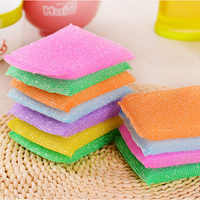 T 4pcs Kitchen Dishwashing Sponge Nonstick Oil Scouring Pad Oil Cleaning Cloth Dish Rag Washing Brush Household Clean Tool Towel