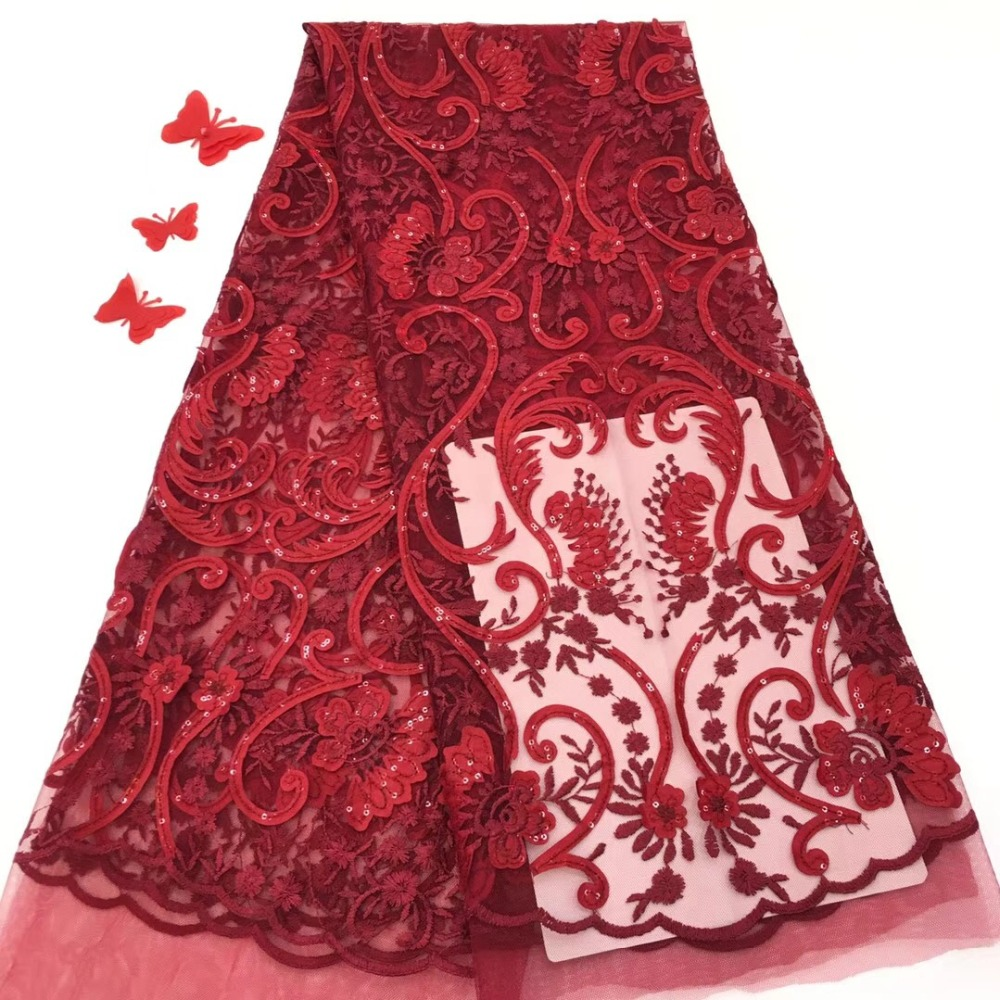 wedding lace High End Wedding /Party Dress Lace Fabric French Lace Fabric fashion Sequins African Textile Lace Fabrics JJH64