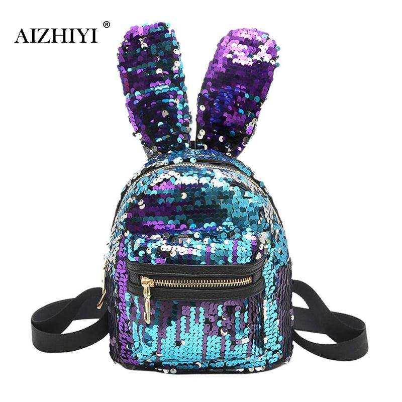 Bling Sequins Mini Backpack Newest Cute Big Rabbit Ears Double Shoulder Bag Backpack Children Girls Travel Bag 21 X 17 X 9cm