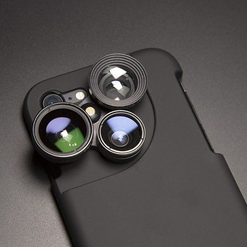 imágenes para Mejorar La Lente de La Cámara de la manera para el iphone 7 7 Plus para iPhone 6 6 S Cajas Del Teléfono Más Salvaje-ángulo de ojo de Pez Lente Macro Para iPhone7
