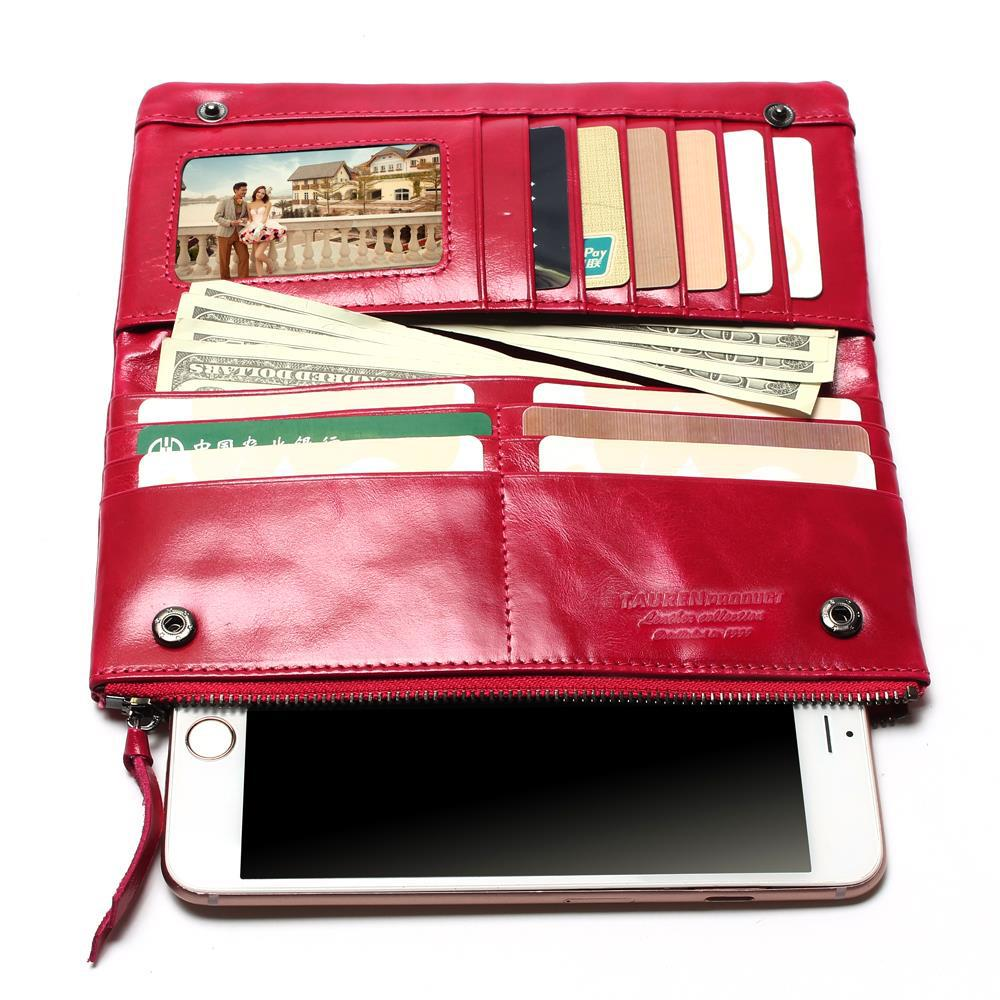 2018 New Women Retro Oil Wax Leather Passport Bag Longer Genuine Leather Cowhide Wallets Female Fashion Coin Purse High Quality