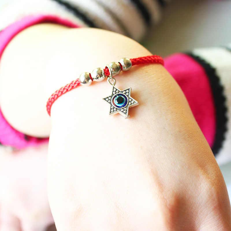 Isinyeeファッション赤い文字列スレッド邪眼ブレスレットハムサデビッドのスター五角形アンカーチャームロープブレスレット用女性ジュエリー