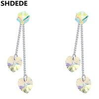 SHDEDE Dài Drop Dangle Earrings Earrings Đối Với Phụ Nữ Trang Sức Vàng Trắng Màu Xỏ Bông Tai Friendship Đảng Gift 19506