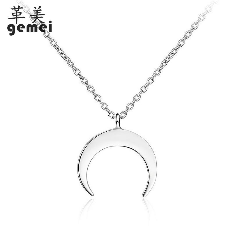 Gemei 100% 925 Sterling Silver Simple Smooth Moon Necklaces & Pendants For Women Creative Fashion Party Jewelry