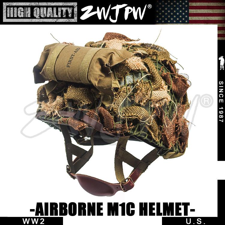 WW2 US ARMY AIRBORNE M1C helmet HELMET FIRST AID KIT CAMOUFLAGE NET SUIT airborne pollen allergy