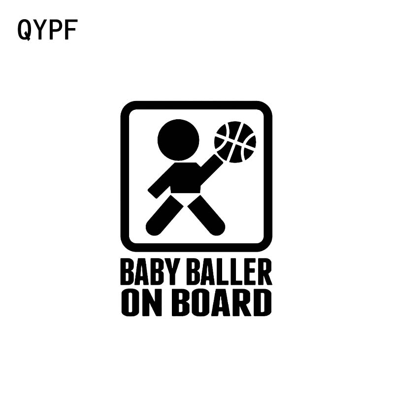 QYPF 11.2CM*15.2CM BABY BALLER ON BOARD Funny Car Vinyl Sticker Decals Black Sliver C14-0171