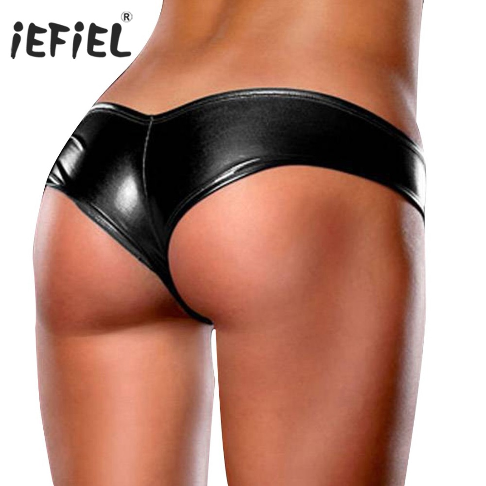 iEFiEL Womens Patent Leather Sexy Briefs Bikini Jockstraps Underwear Underpants T-back Sexy Panties for Womens One Size