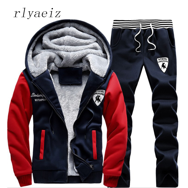 Rlyaeiz Men Two Piece Set 2017 Casual Sporting Suits Mens Sportswear Autumn Winter Printed Zipper Hooded Hoodie + Pants Sets 5XL