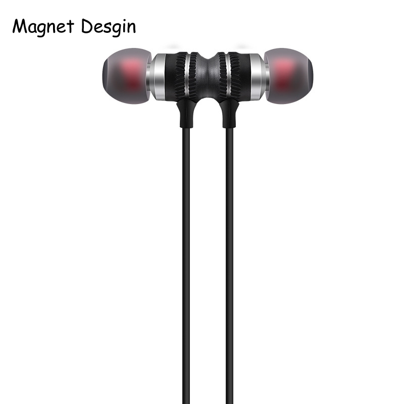 2017 Metal Magnetic Earpiece Sport in-ear Earphone for Iphone 5 Mobile Phone Super Bass Stereo Music Earphones with Micophone