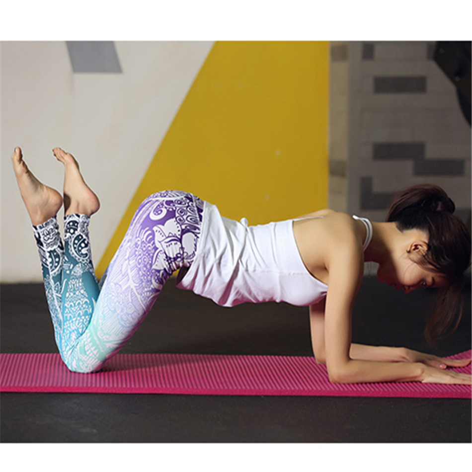 Whimsical Stunning Beautiful Yoga Pants High Waist Floral Printed Leggings Purple Blue Ombre Womens Tracksuit Running Fitness
