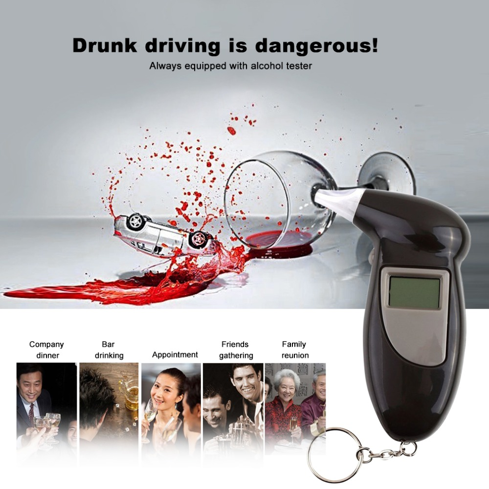 Alcohol Breath Tester with 11 mouthpieces Breathalyzer Analyzer Detector Test Keychain Breathalizer Breathalyser DeviceLCD dd